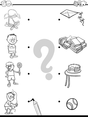 Black and White Cartoon Illustration of Educational Pictures Matching Game for Children with Kid Characters and their Activities Coloring Book 向量圖像
