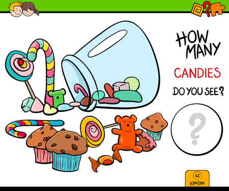 Cartoon Illustration of Educational Counting Activity Game for Children with Candies