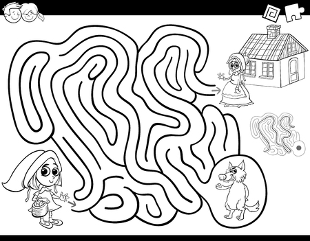 Black and White Cartoon Illustration of Education Maze or Labyrinth Activity Game for Children with Little Red Riding Hood Coloring Book 向量圖像