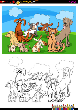 Cartoon Illustration of Funny Dogs Animal Characters Group Coloring Book Activity