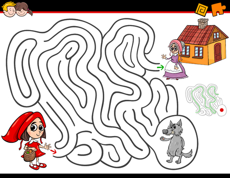 Cartoon Illustration of Education Maze or Labyrinth Activity Game for Children with Little Red Riding Hood Çizim