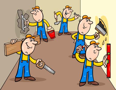 Ilustración de dibujos animados de personajes divertidos trabajadores manuales o decoradores haciendo reparaciones