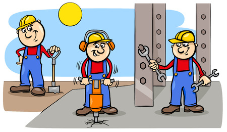 Cartoon Illustration of Manual Workers or Builders Characters Group at Work Vectores