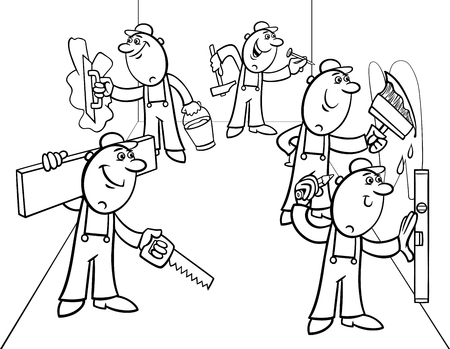 Black and White Cartoon Illustration of Funny Manual Workers Characters or Decorators doing Repairs Coloring Book