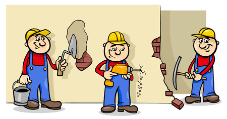 Cartoon Illustration of Manual Workers or Builders Characters at Work