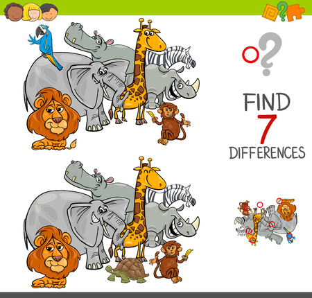 Cartoon Illustration of Finding Seven Differences Between Pictures Educational Activity Game for Kids with Safari Animal Characters Group