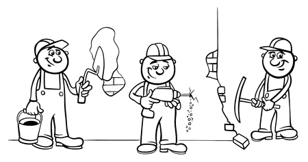 Black and White Cartoon Illustration of Manual Workers or Builders Characters at Work Coloring Book Vectores