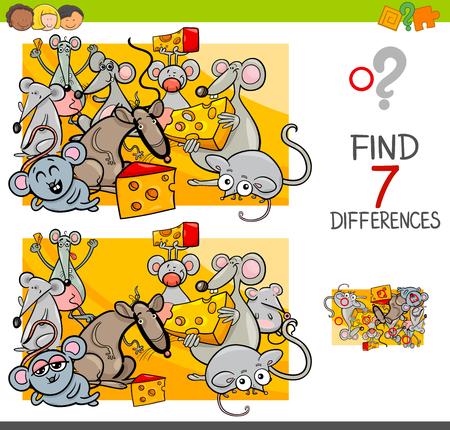 Beeldverhaalillustratie van het vinden van zeven verschillen tussen foto's Stockfoto - 96647762