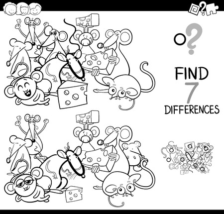 Black and White Cartoon Illustration of Finding Seven Differences Between Pictures Educational Activity Game for Kids with Mice Animal Characters Group Coloring Book Çizim