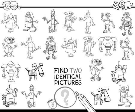 Black and White Cartoon Illustration of Finding Two Identical Pictures Educational Activity Game for Children with Robot Fantasy Characters Coloring Book  イラスト・ベクター素材