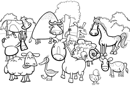 Coloring Book Cartoon Illustration Of Farm Animals Characters ...