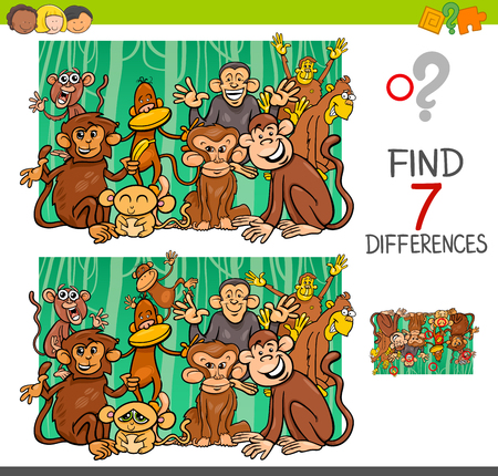 Cartoon Illustration of Finding Seven Differences Between Pictures