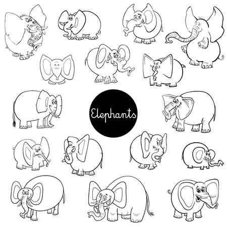 Black and White Cartoon Illustration of Elephants Animal Characters Big Collection Coloring Page