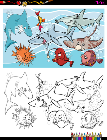Cartoon Illustration of Fish Marine Life Animal Characters Group Coloring Book Activity