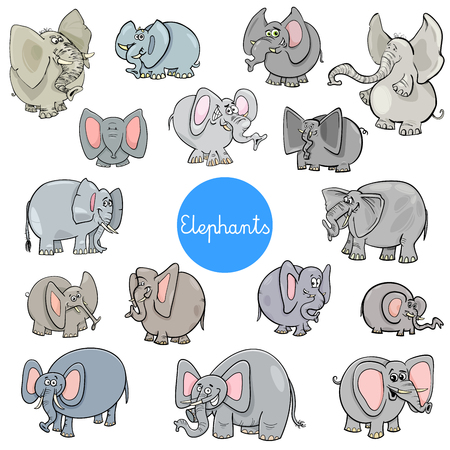 Cartoon Illustration of Elephants Animal Characters Big Collection