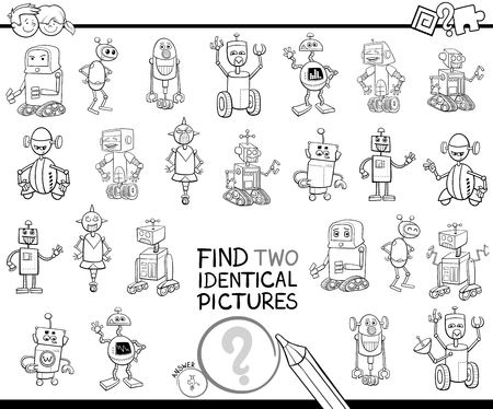Black and white cartoon illustration of finding two identical pictures educational game for children with robot fantasy characters coloring book.