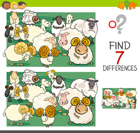 Cartoon Illustration of Finding Seven Differences Between Pictures Educational Activity Game for Kids with Sheep Farm Animal Characters Group Vettoriali