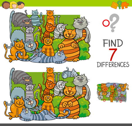 Cartoon Illustration of Finding Seven Differences Between Pictures Educational Activity Game for Children with Cats Animal Characters Group