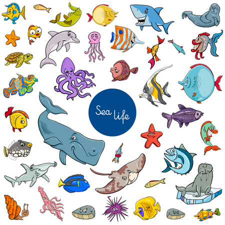 Cartoon Illustration of Sea Life Animal Characters Large Collection