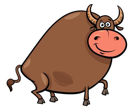 Cartoon Illustration of Funny Farm Bull Animal Character