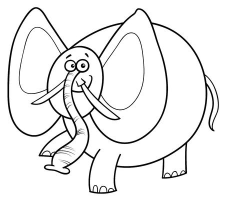 Black and White Cartoon Illustration of Cute African Elephant Animal Character Coloring Book