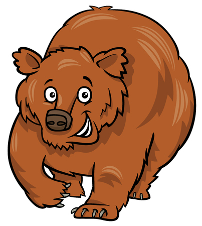 Cartoon Illustration of Grizzly Bear Animal Character