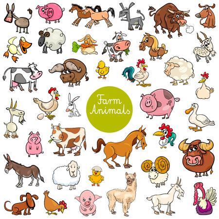 Ilustración de dibujos animados de conjunto grande de personajes divertidos animales de granja
