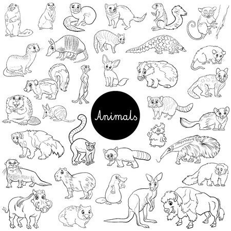 Black and White Cartoon Illustration of Wild Mammals Animal Characters Big Set Coloring Book
