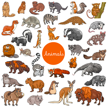 Cartoon Illustration of Wild Mammals Animal Characters Big Set