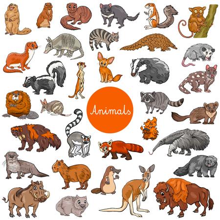 Illustrazione del fumetto dei grandi caratteri animali dei mammiferi selvaggi messi