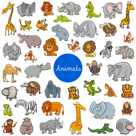 Cartoon Illustration of Wild Animal Characters Big Set Illustration