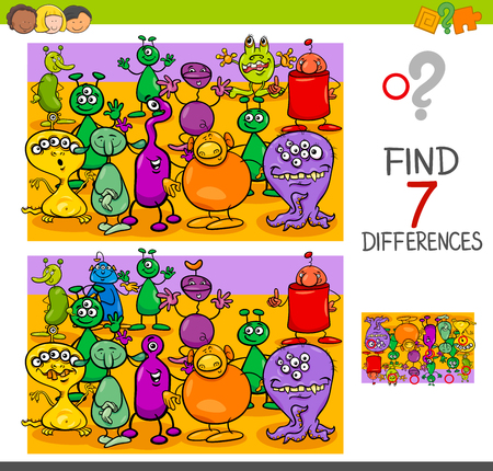 Cartoon Illustration of Finding Seven Differences Between Pictures Educational Activity Game for Kids with Alien or Monster Characters Group