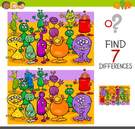 Ilustración de dibujos animados de Encontrar siete diferencias entre imágenes Juego de actividad educativa para niños con grupo de personajes extraterrestres o monstruos