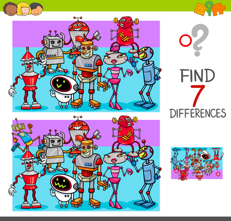 Cartoon Illustration of Finding Seven Differences Between Pictures Educational Activity Game for Kids with Robot Characters Group Vectores