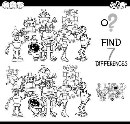 Black and White Cartoon Illustration of Finding Seven Differences Between Pictures Educational Activity Game for Kids with Robot Characters Group Coloring Book
