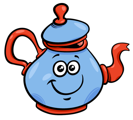 Cartoon Illustration of Funny Teapot or Kettle Character Ilustração
