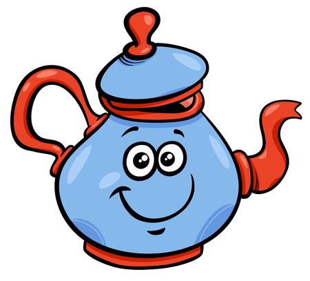 Cartoon Illustration of Funny Teapot or Kettle Character Illustration