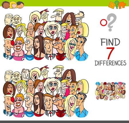 Ilustración de dibujos animados de encontrar siete diferencias entre imágenes