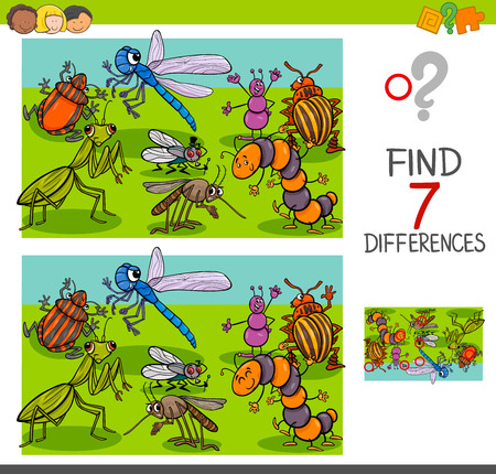 Cartoon Illustration of Finding Seven Differences Between Pictures Educational Activity Game for Children with Insects Animal Characters Group