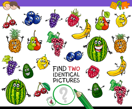 Cartoon Illustration of Finding Two Identical Pictures Educational Game for Children with Fruit Characters
