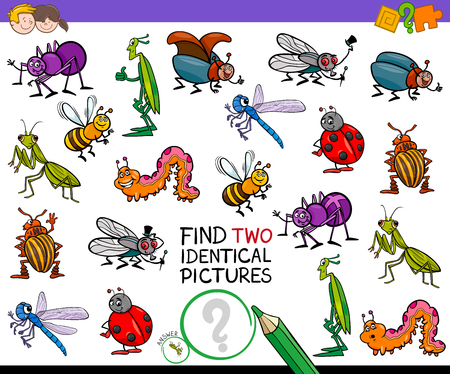 Cartoon Illustration of Finding Two Identical Pictures Educational Game for Children with Insects Animal Characters