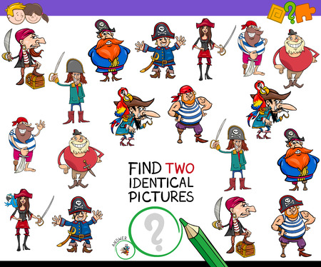 Cartoon Illustration of Finding Two Identical Pictures Educational Game for Children with Pirates Fantasy Characters 일러스트
