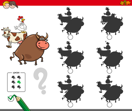 Cartoon Illustration of Finding the Shadow without Differences Educational Activity for Children with Farm Animal Characters Çizim
