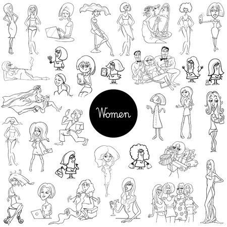 Black and White Cartoon Illustration of Women Characters Huge Set Coloring Book