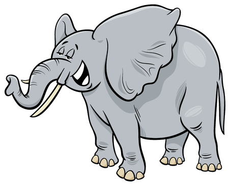 Cartoon Illustration of Funny Gray African Elephant Animal Character Illustration