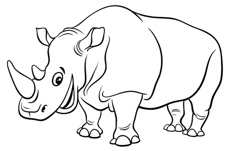 Black and White Cartoon Illustration of Funny Rhinoceros Wild Animal Character Coloring Page
