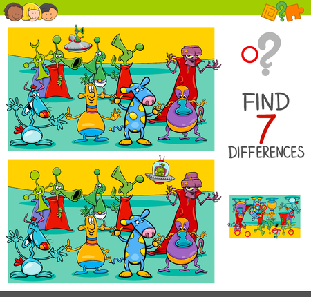 Cartoon Illustration of Finding Seven Differences Between Pictures Educational Activity Game for Children with Aliens Fantasy Characters Group