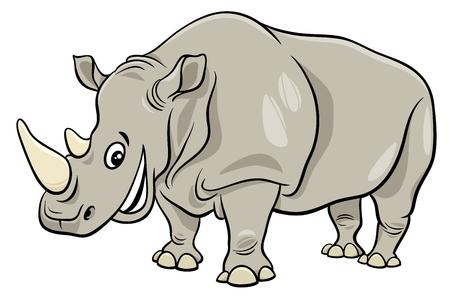 Cartoon Illustration of Funny Rhinoceros Wild Animal Character Illustration
