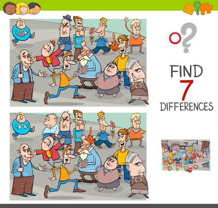 Cartoon Illustration of Finding Seven Differences Between Pictures Educational Activity Game for Children with People Characters Group Vectores