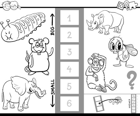 Black and White Cartoon Illustration of Educational Game of Finding the Biggest and the Smallest Animal Funny Characters for Children Coloring Book